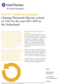 Non-EU established companies - Claiming Thirteenth Directive refund of VAT for the years 2011-2015 in the Netherlands