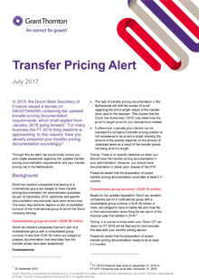 Transfer pricing alert
