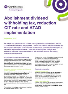Abolishment dividend withholding tax, reduction CIT rate and ATAD implementation