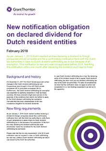 New notification obligation on declared dividend for Dutch resident entities