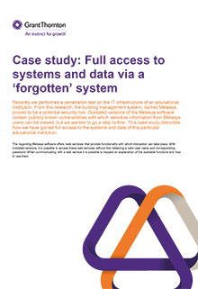 Case study: Full access to systems and data via a 'forgotten' system