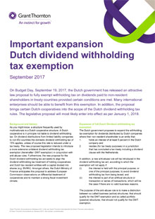 Expansion Dutch dividend withholding tax exemption